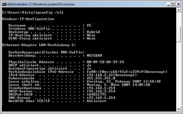 Konfiguration Router unter Windows Vista
